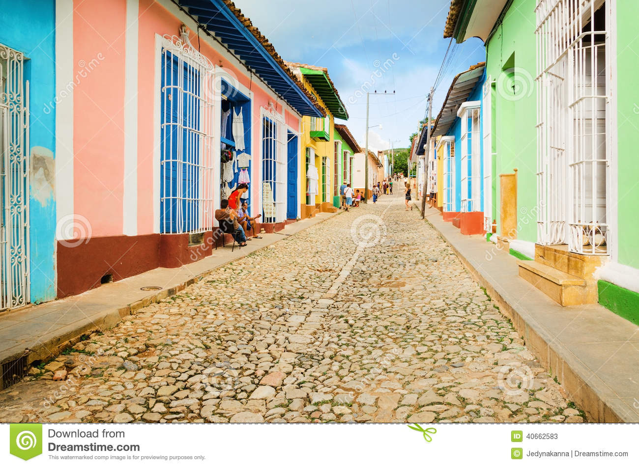 Trinidad Cuba Colorful Traditional Houses In The Colonial Town Of Trinidad Cuba
