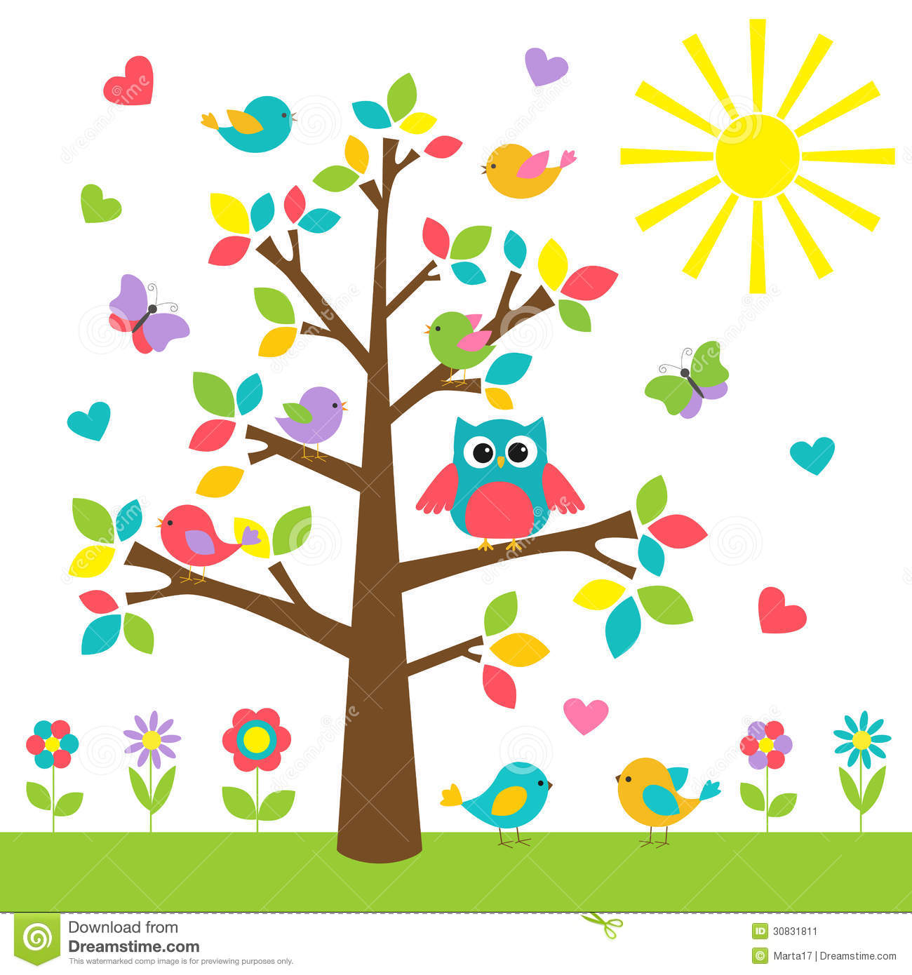 Cute Owl Cartoon Wallpaper Colorful Tree Stock Image Image 30831811