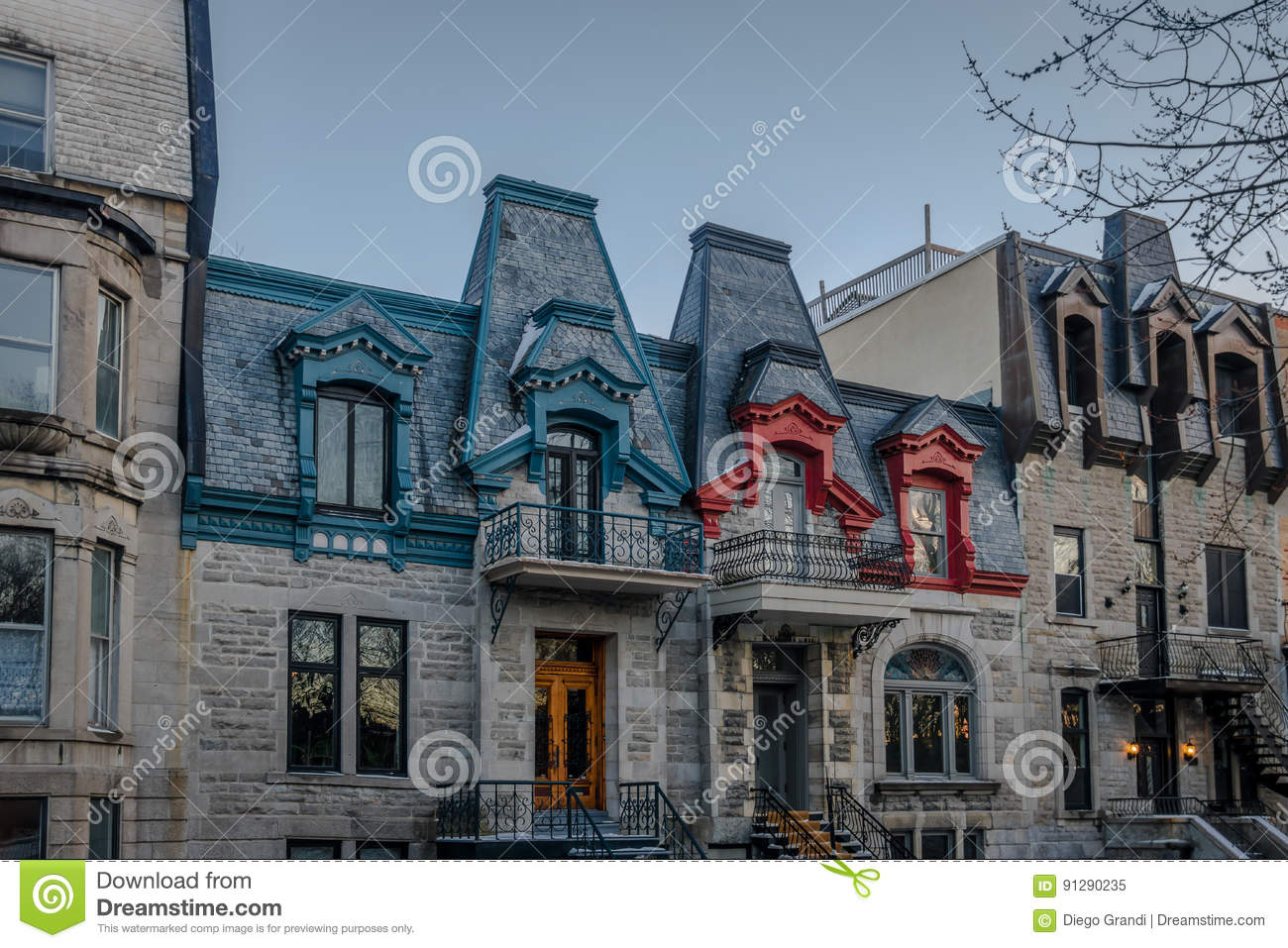 Quebec Montreal Colorful Victorian Houses In Square Saint Louis Montreal Quebec