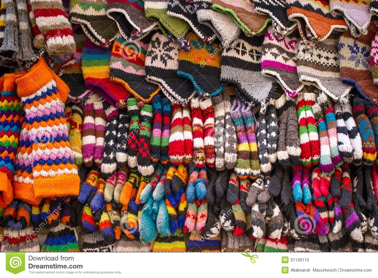 Rainbow Knitting Design Colorful Woolen Socks Hats And Gloves Stock Photo Image