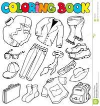 Coloring Book With Apparel 1 Stock Vector - Image: 16682463