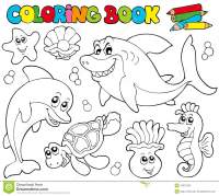 Coloring Book With Marine Animals 2 Stock Photography ...