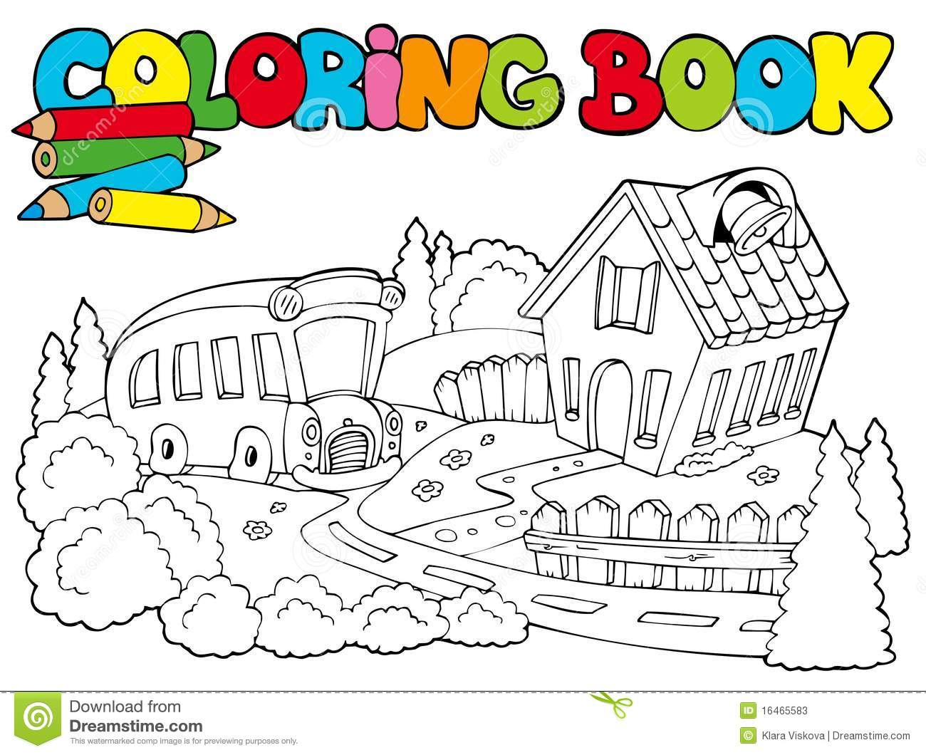 Book bus coloring illustration school