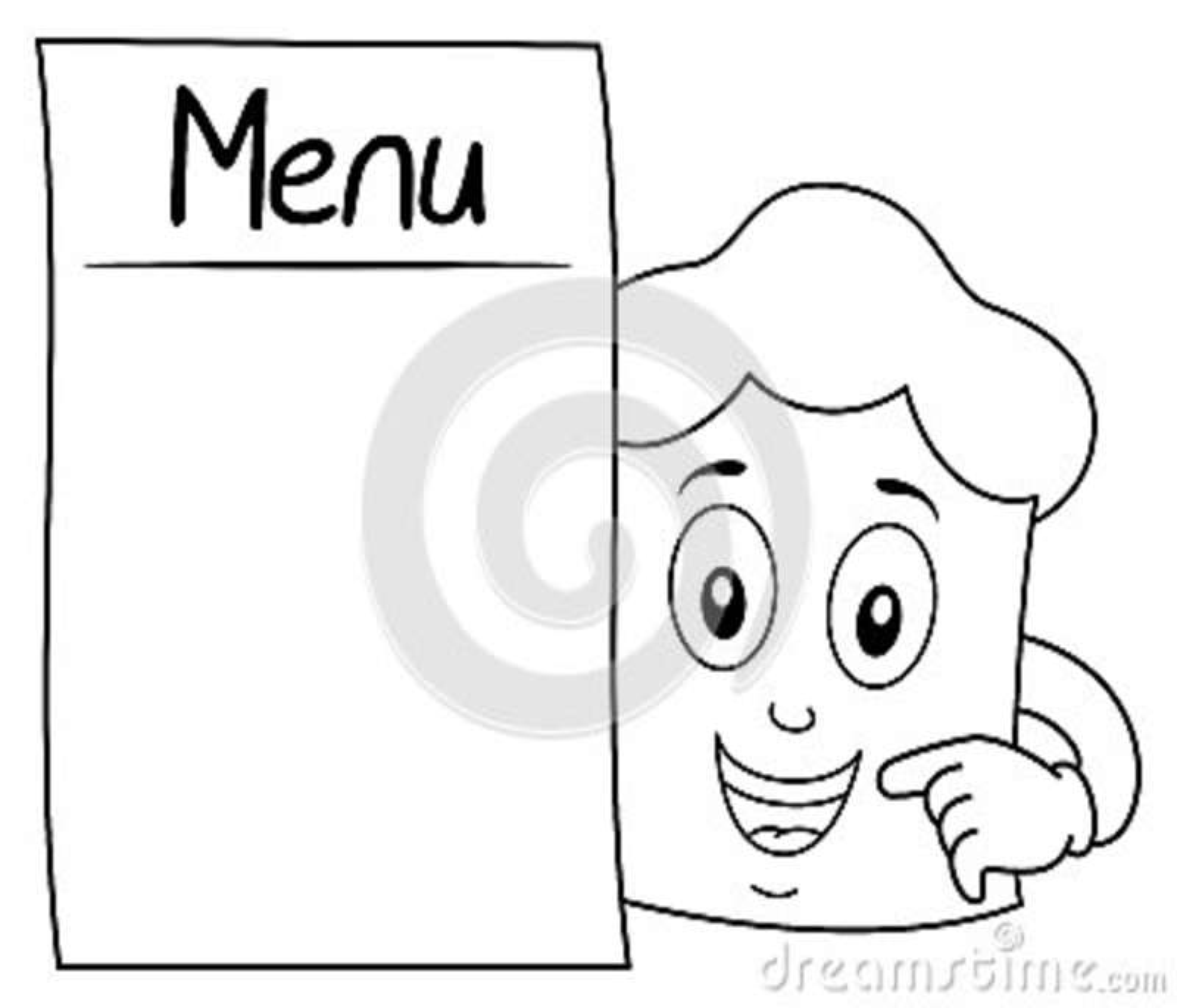 Coloring Chef Hat Character  Blank Menu Stock Vector - Illustration