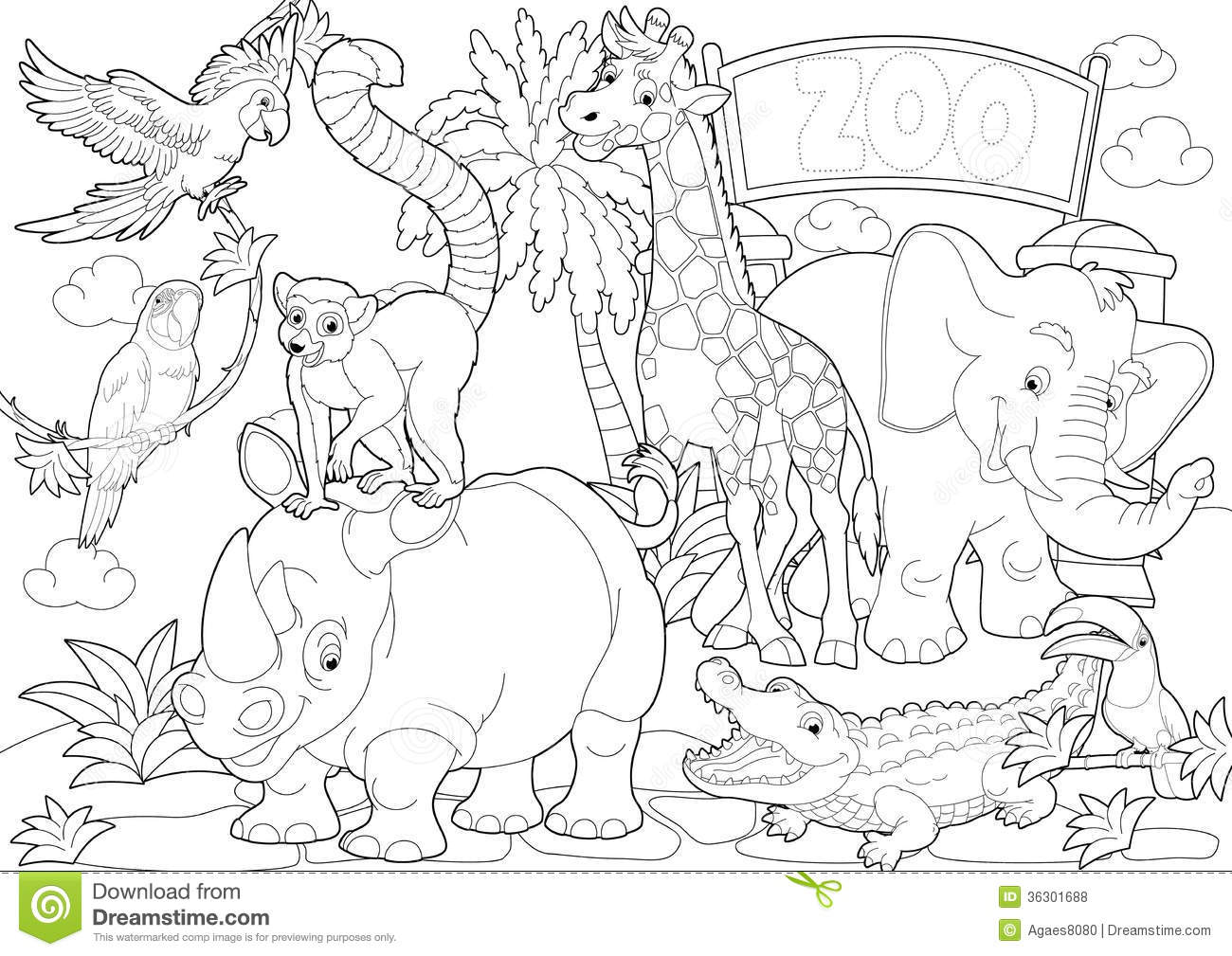 Coloring page zoo