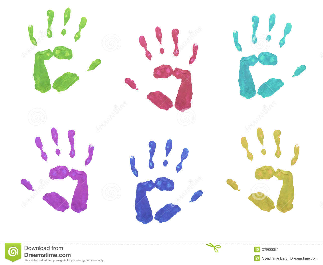 Handabdruck Kind Colourful Hand Prints Royalty Free Stock Photography