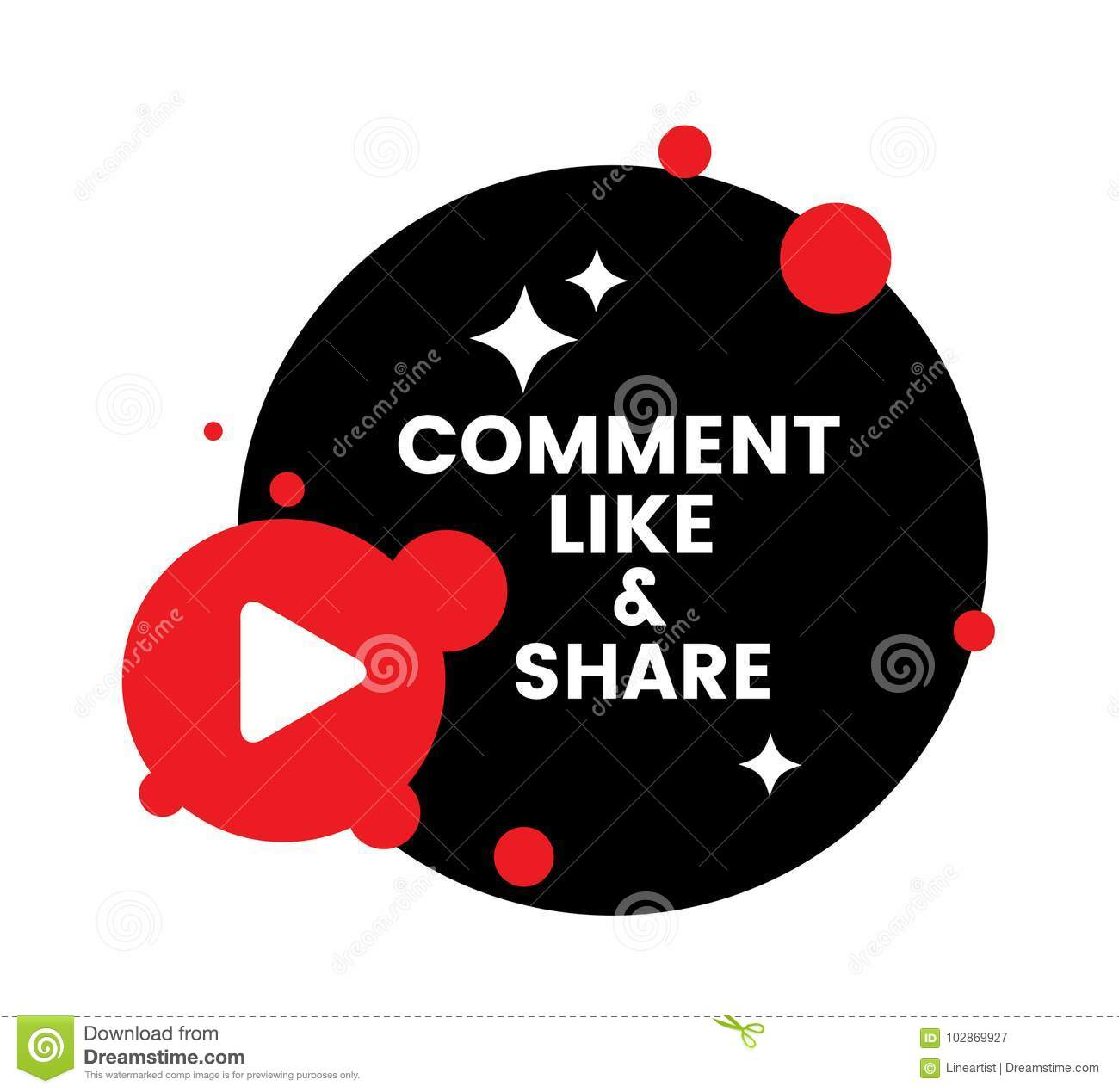 Share Websites Comment Like And Share Vector Banner For Channel And Websites