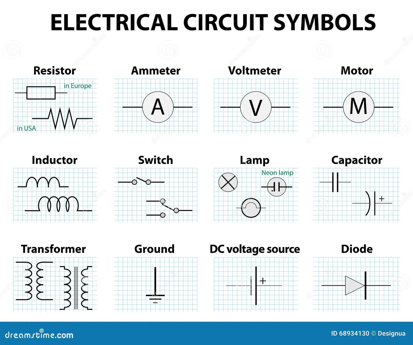 common circuit diagram symbols stock vector