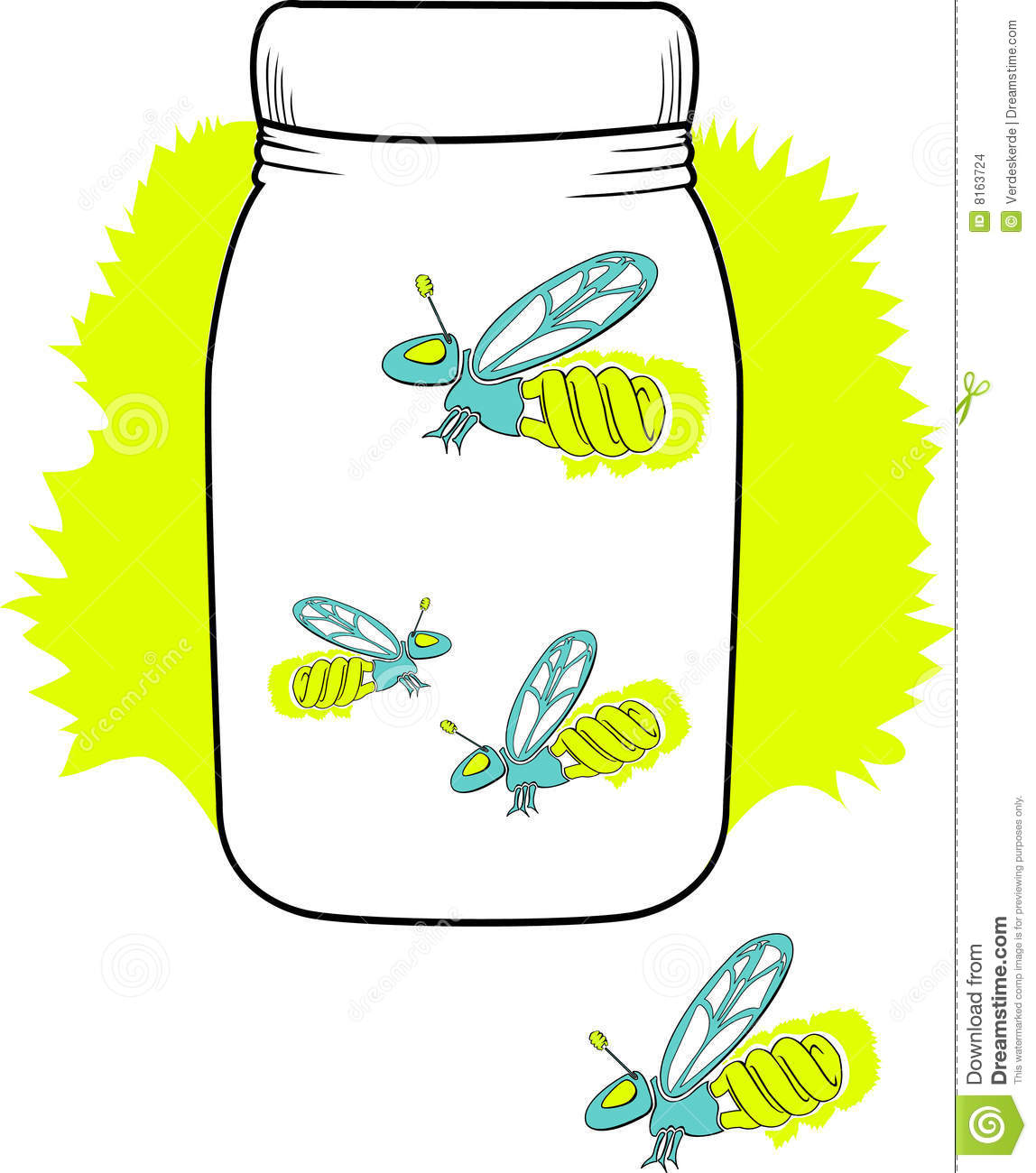 Firefly Jar Art Compact Florescent Firefly In A Jar Stock Vector Illustration Of