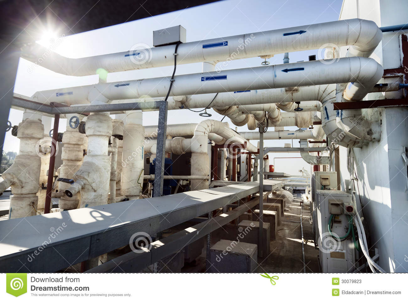 Building Management System Hvac Industrial Rooftop Pipes Stock Image Image Of
