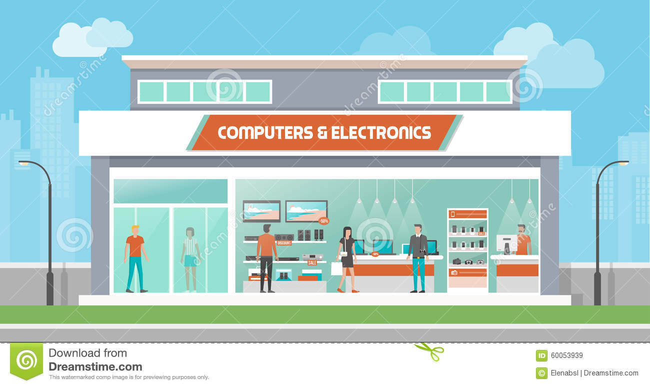 Store Banne 3.5 Computers And Electronics Store Stock Vector