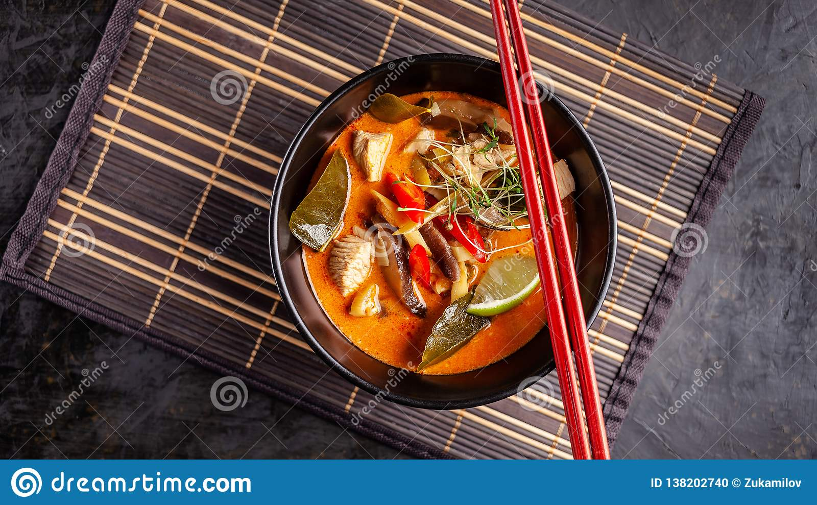 Cuisine Yam Concept Of Asian Cuisine Thai Soup Tom Yam Of Chicken Broth And