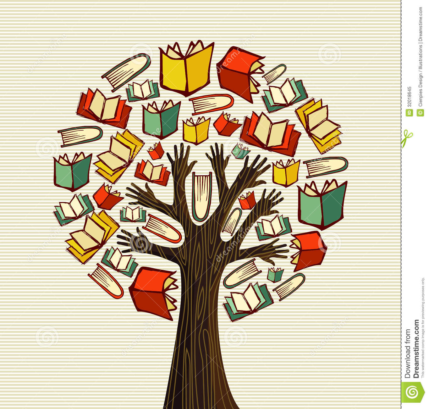 Fall Leaves Clip Art Wallpaper Concept Design Hand Books Tree Royalty Free Stock Photo