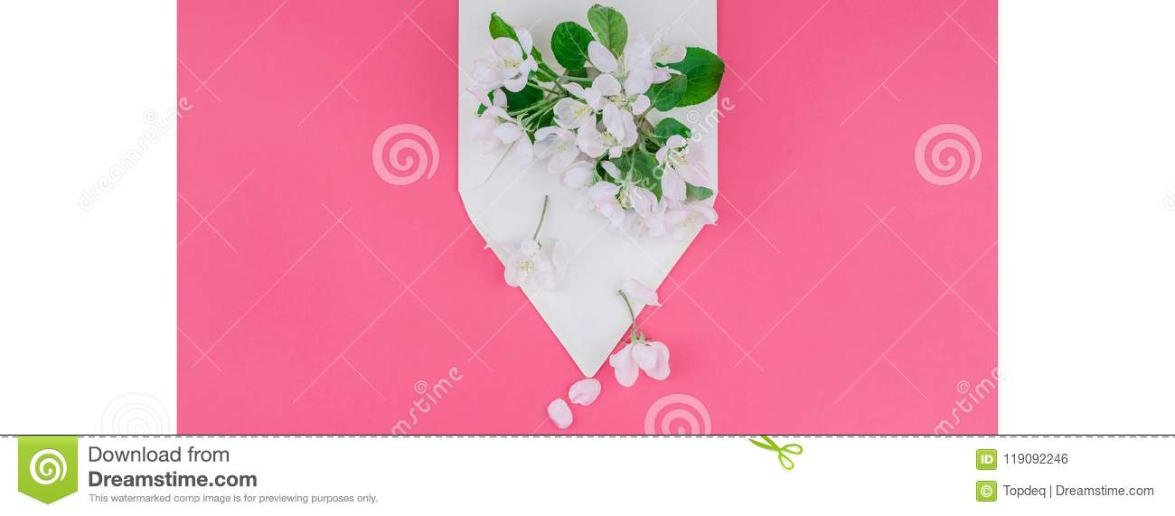 Concept Of Love Letter With Envelope And Flowers Stock Photo - Image