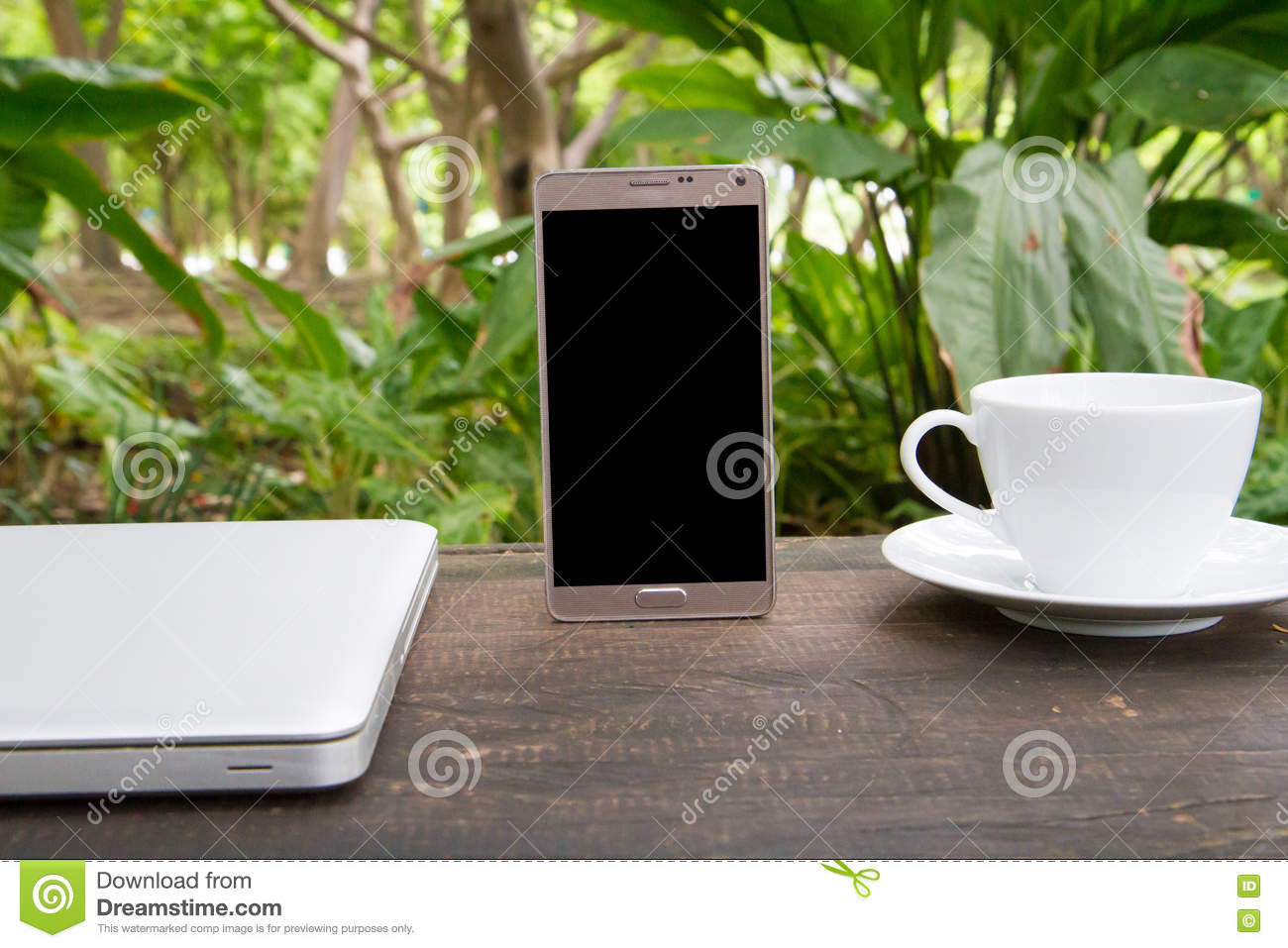 Bru Coffee Green Garden Conceptual Green Workspace Mobile With Blank Screen On