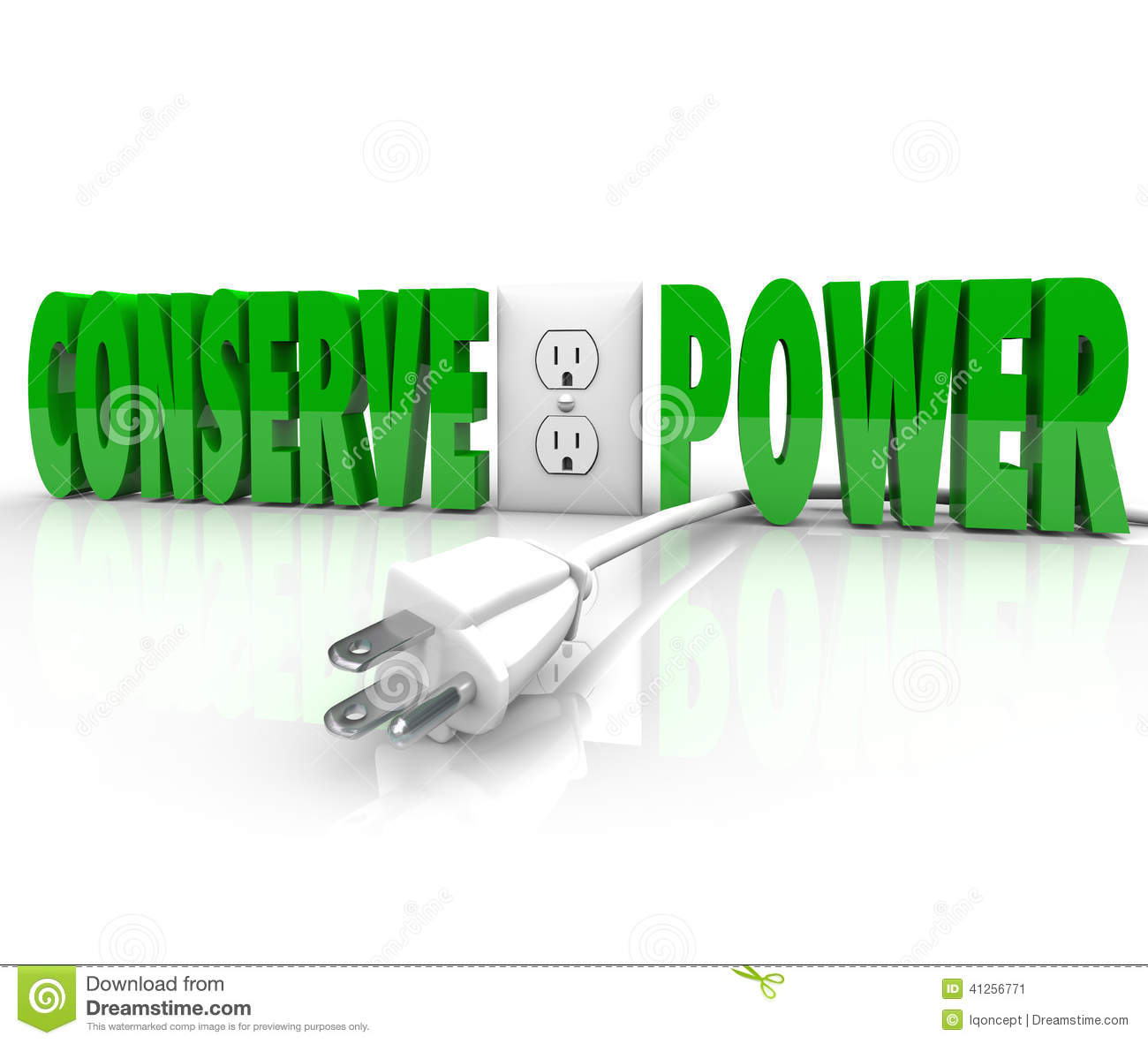 Conserve Electricity Conserve Power Electrical Cord Plug Save Energy Conservation Stock