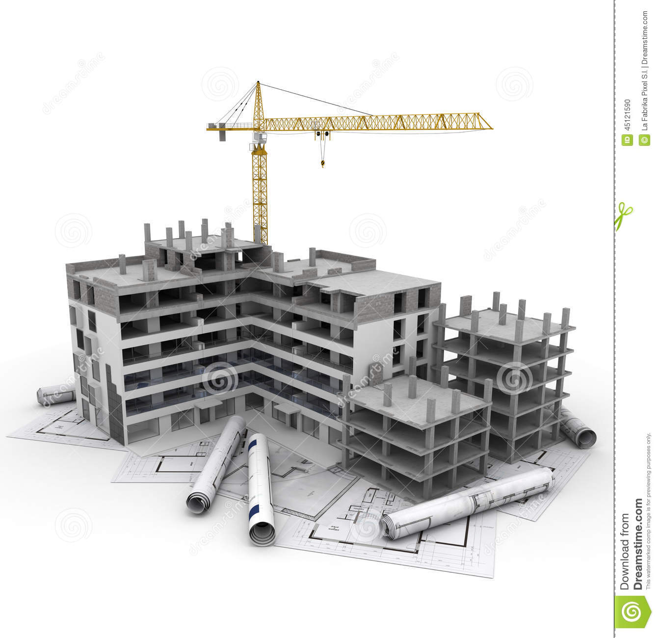 Building Construction Projects Construction Project In Progress Stock Illustration