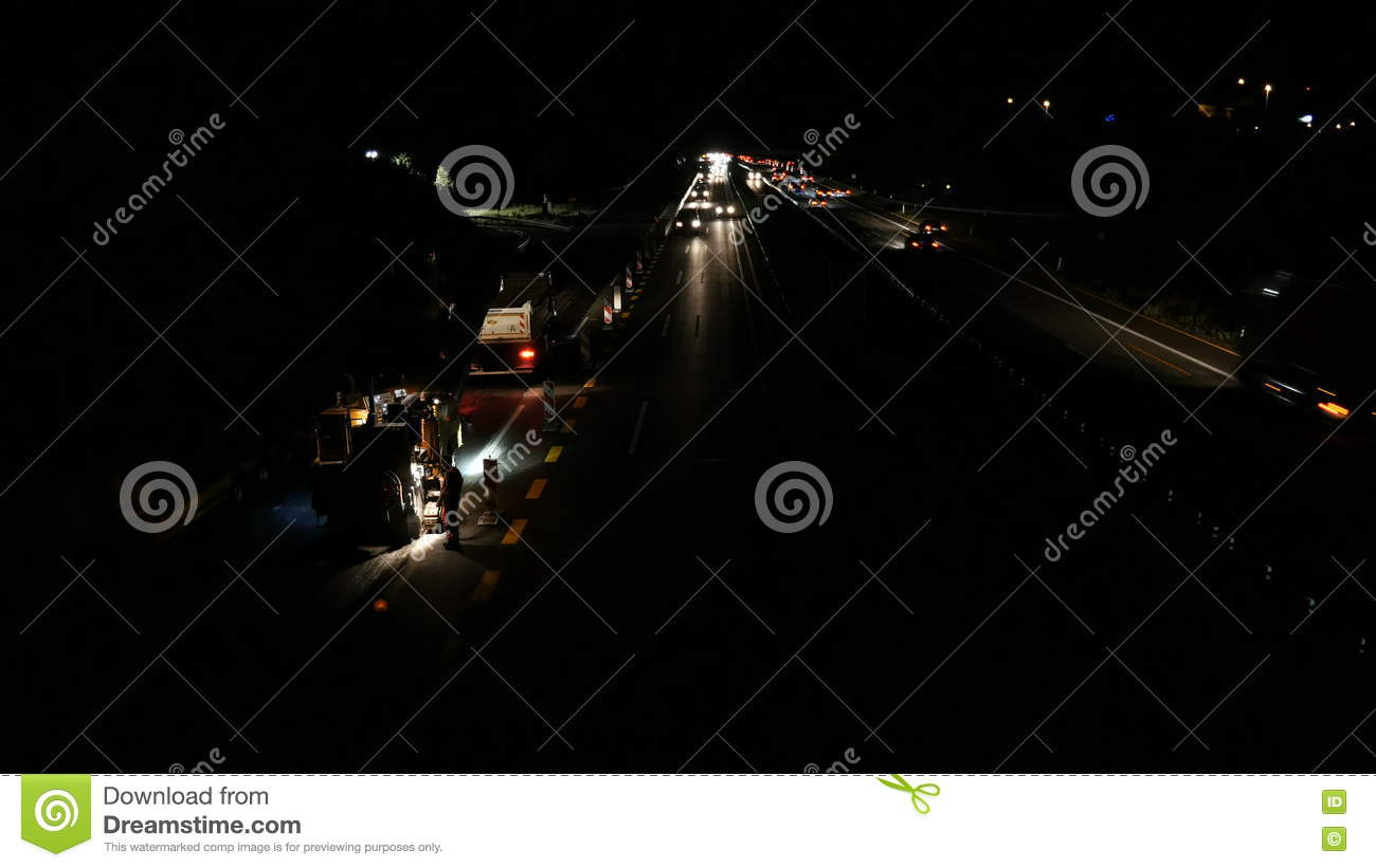 Containerdienst Wiesbaden Construction Site And Traffic On German Highway A66 Stock Footage