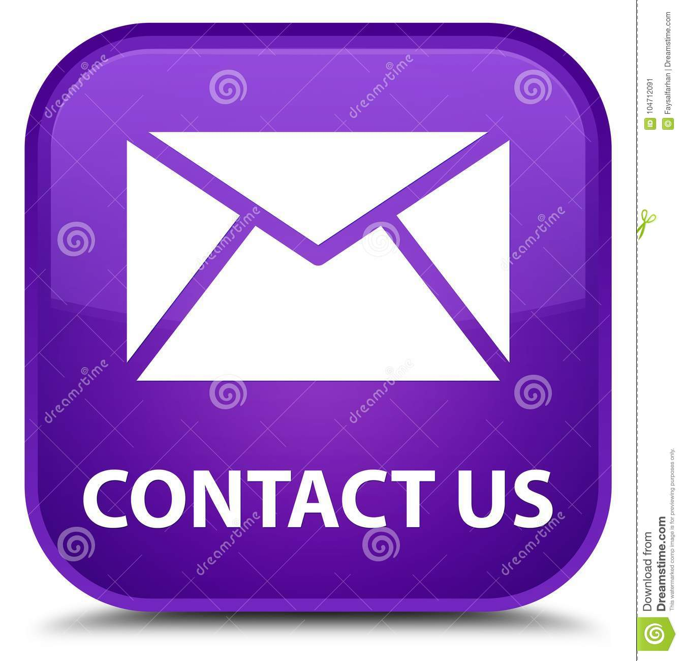 Email Icon Isolated On Special Yellow Square Button Abstract Contact Us Email Icon Special Purple Square Button Stock
