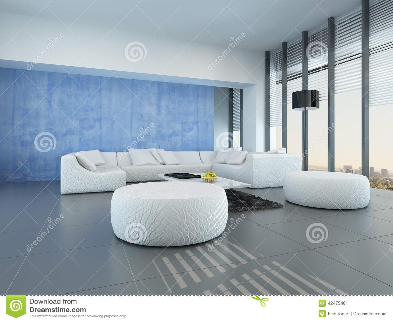 Grey White And Blue Living Room Contemporary Grey Blue And White Living Room Stock Illustration