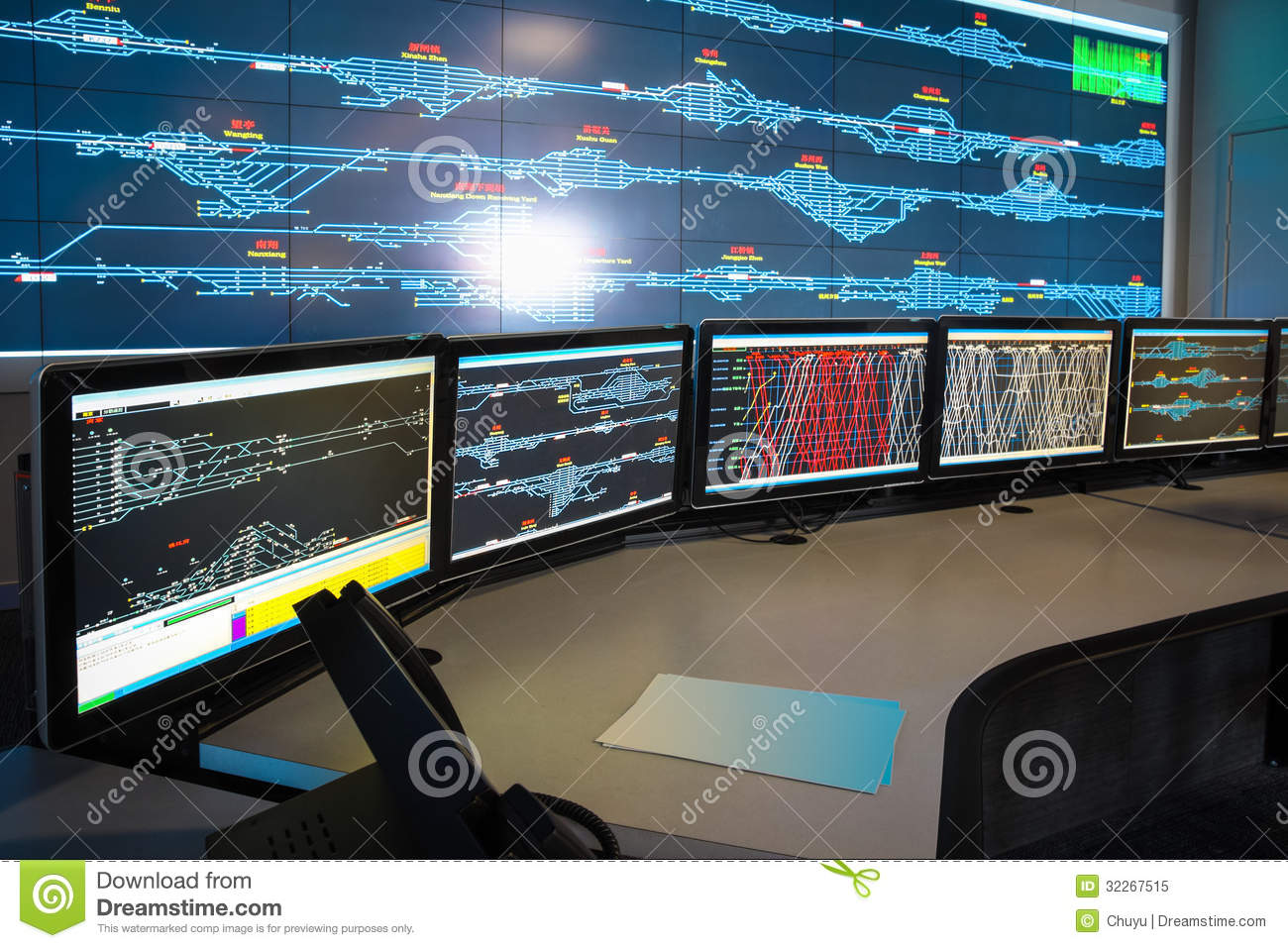 Modern Computer Desk Control Room Of Railway Royalty Free Stock Photo - Image