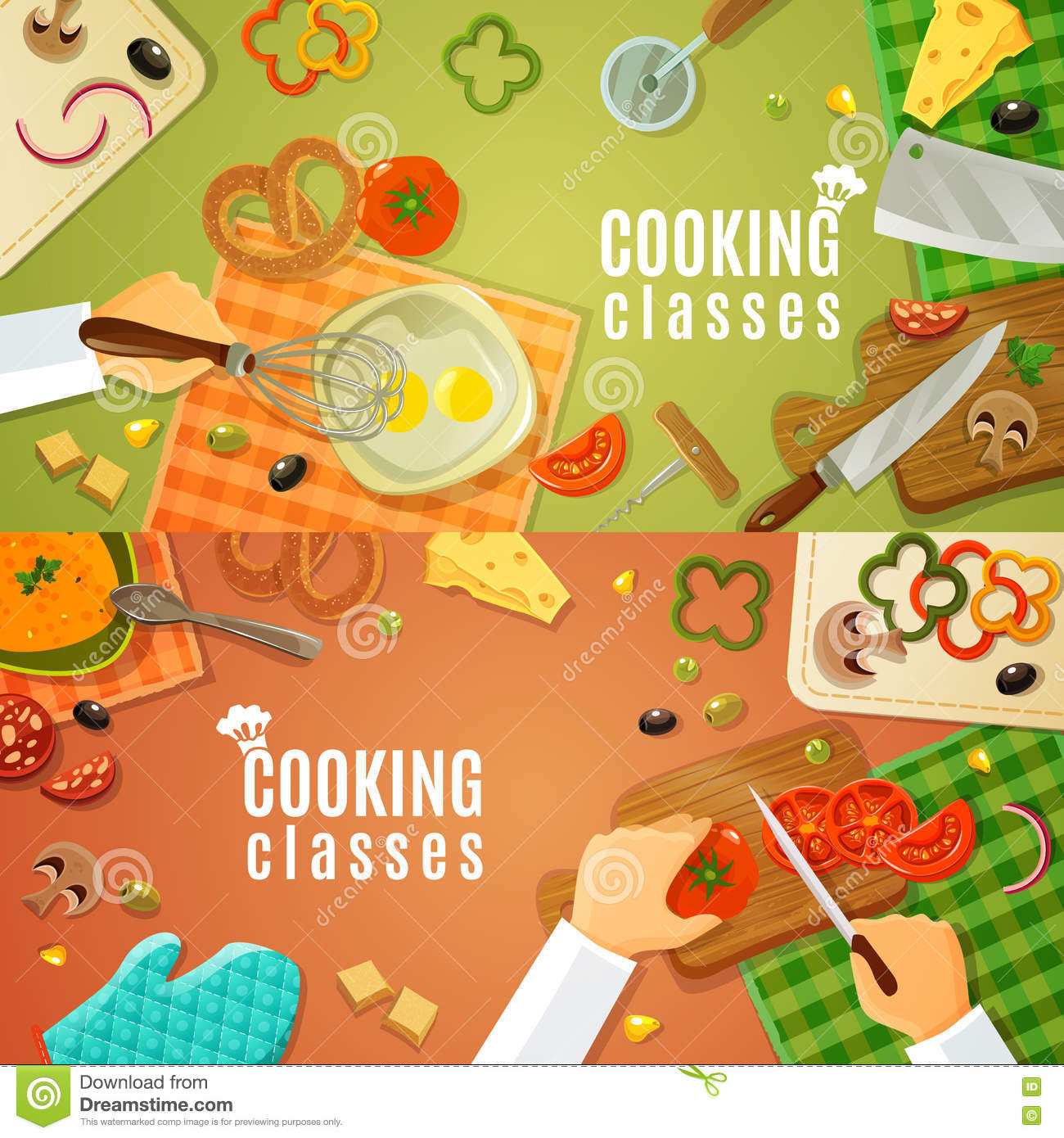 cooking classes top view kitchenware products kitchen table chefs hands chopping vegetables wooden board vector 73054613