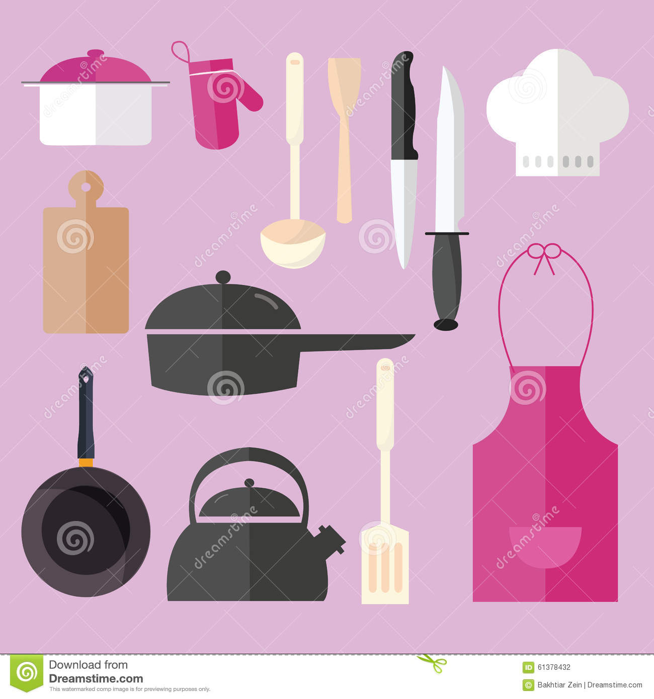 Pinke Küchenutensilien Cooking Icon Set Object In Pink Kitchen Chef Hat Apron Pan