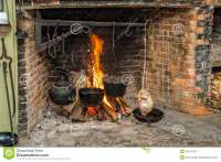 Cooking on Open Hearth stock photo. Image of oven, rough ...