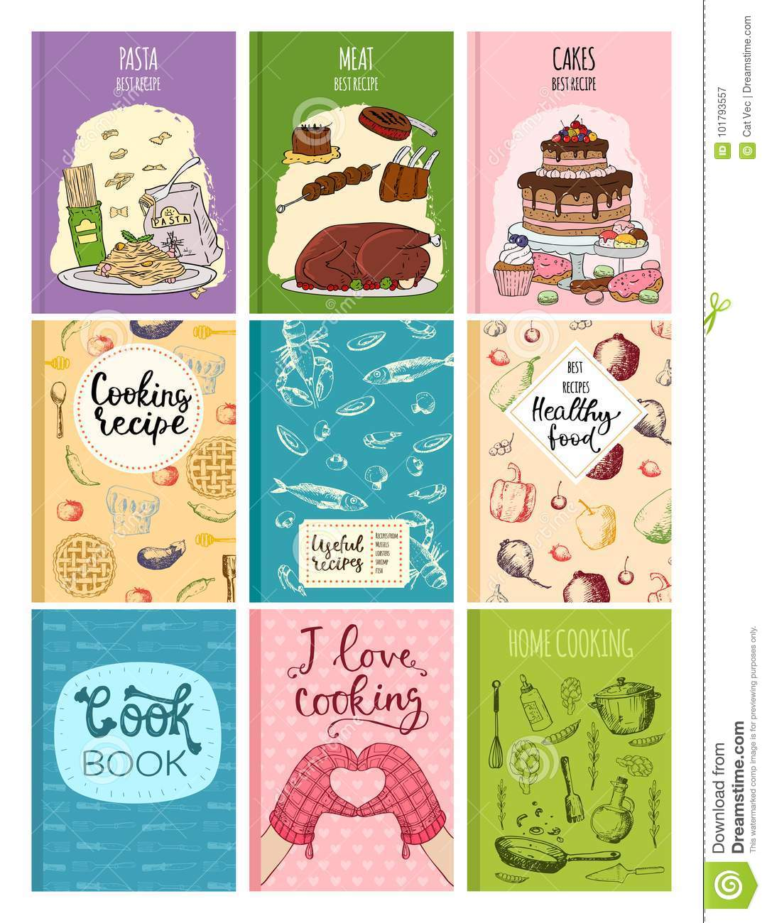 Best Kitchen Design Books Cooking Recipe Books Cover Kitchen Design Cards Template Hand Drawn