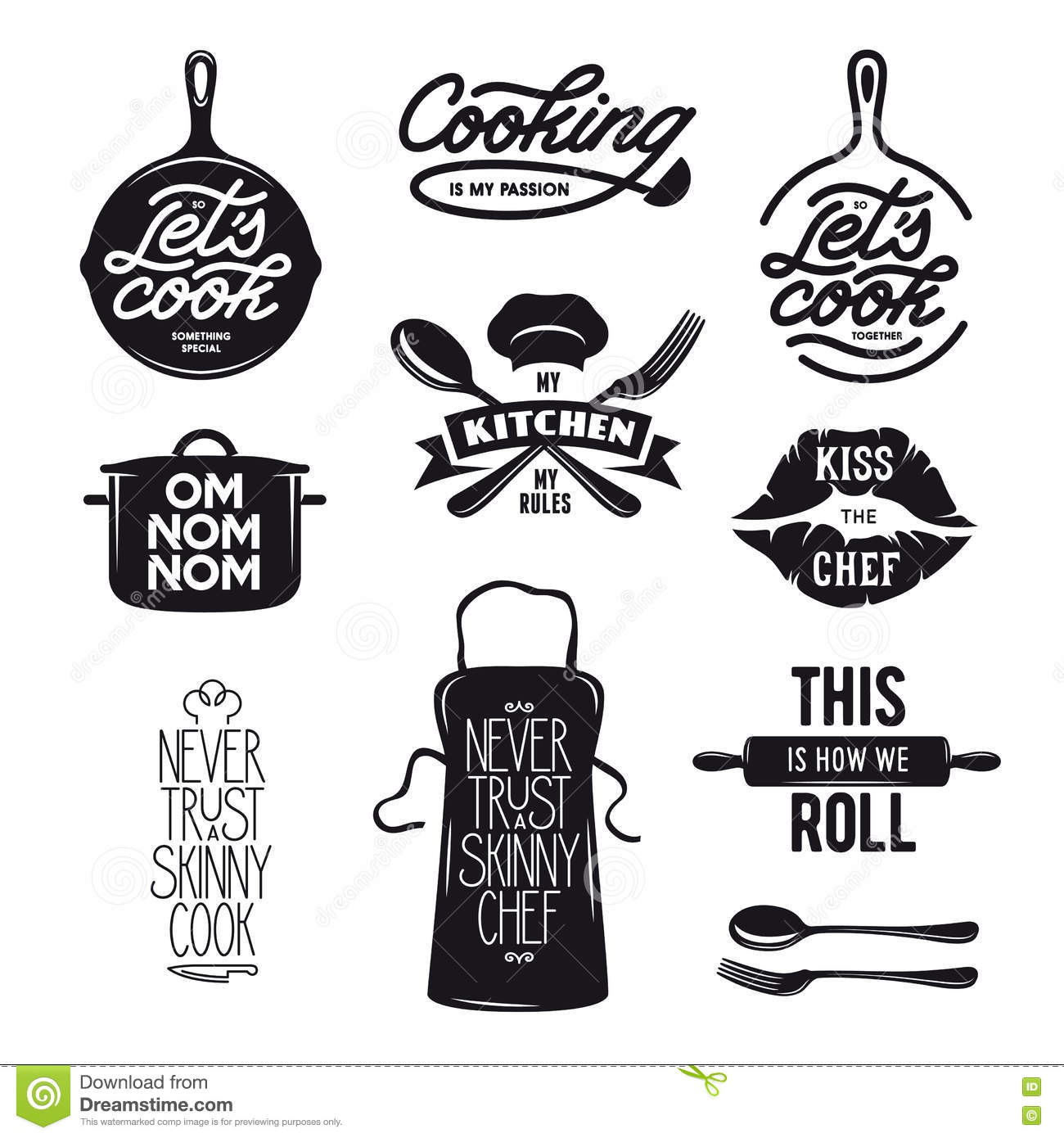 Silhouet Keuken Cooking Related Typography Set Quotes About Kitchen