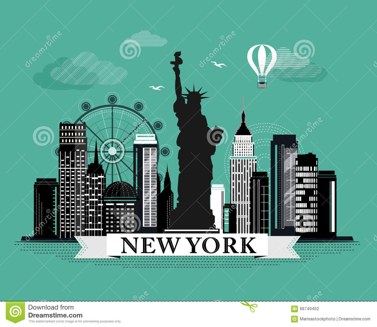 Affiche New York Cool Graphic New York City Skyline Poster With Retro