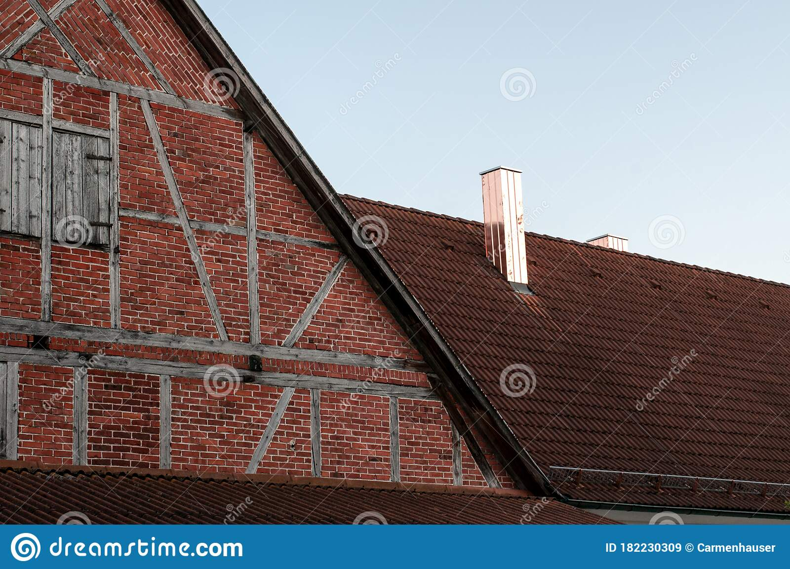 Copper Plated Chimneys On A Roof Of A Farmhouse Stock Image Image Of Halftimbered Architecture 182230309