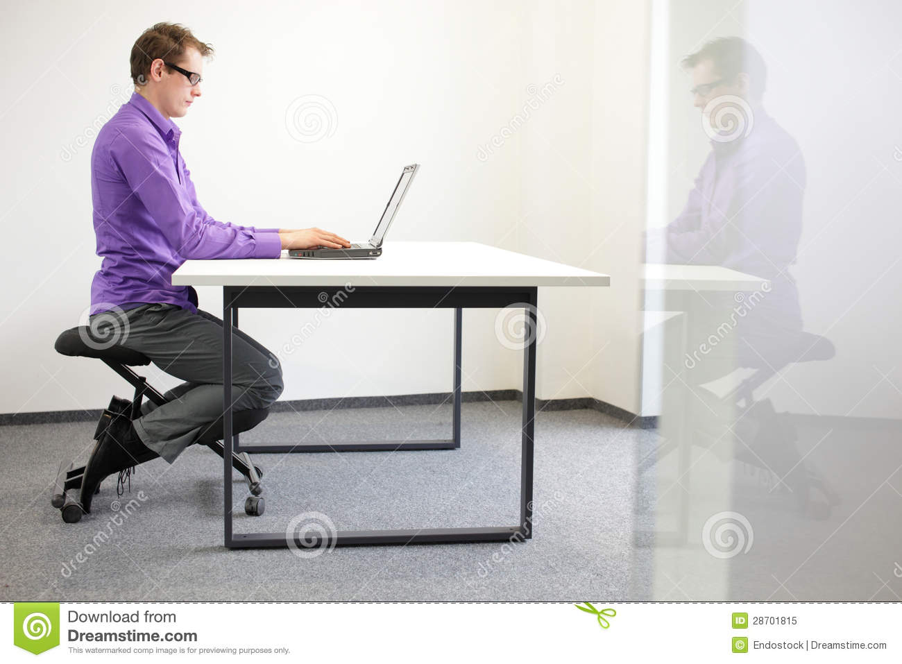 Correct Sitting Position At Workstation Man On Kn Royalty