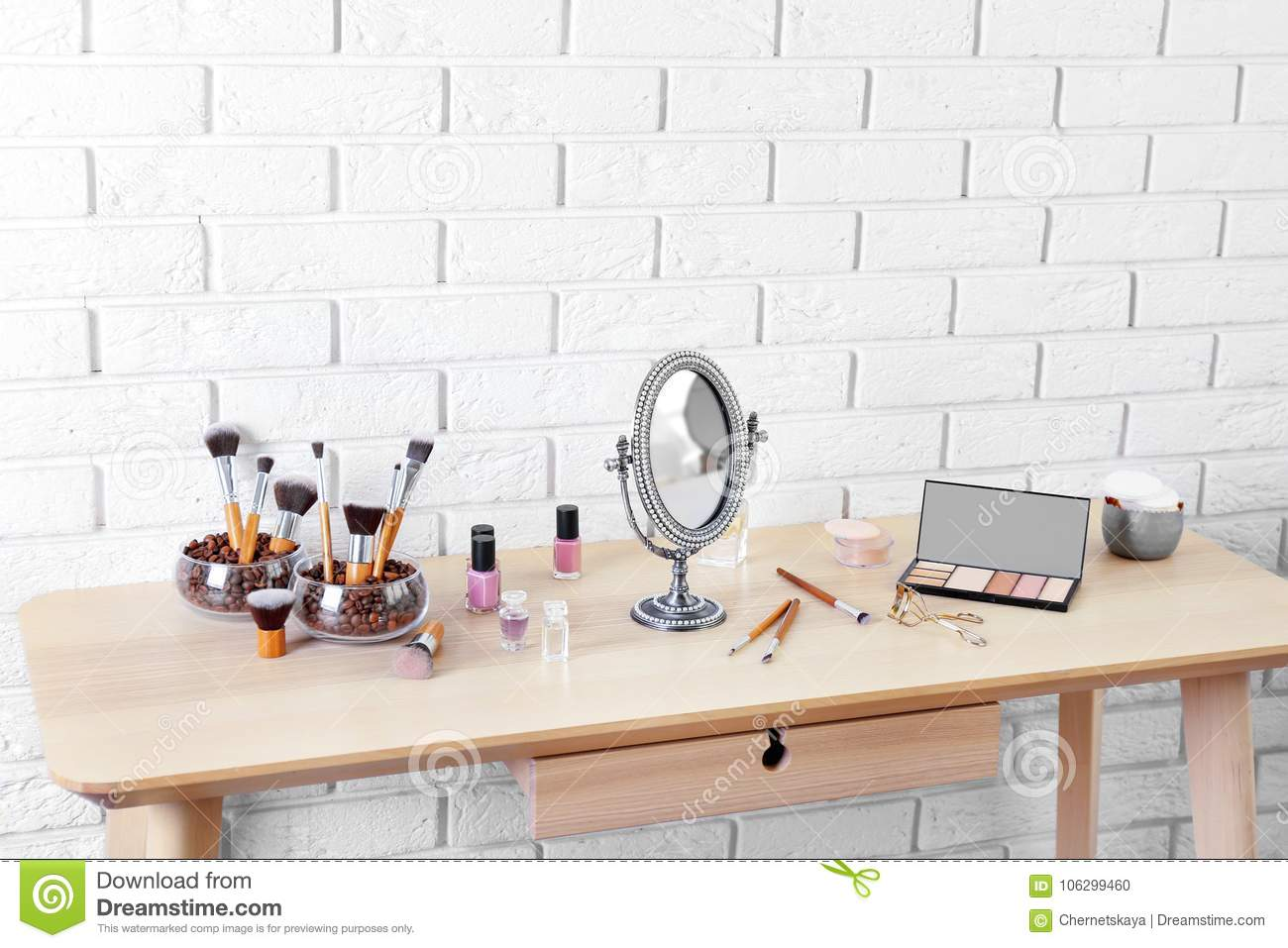 Cosmetic Table Cosmetic Set With Mirror On Table Stock Photo Image Of Indoors