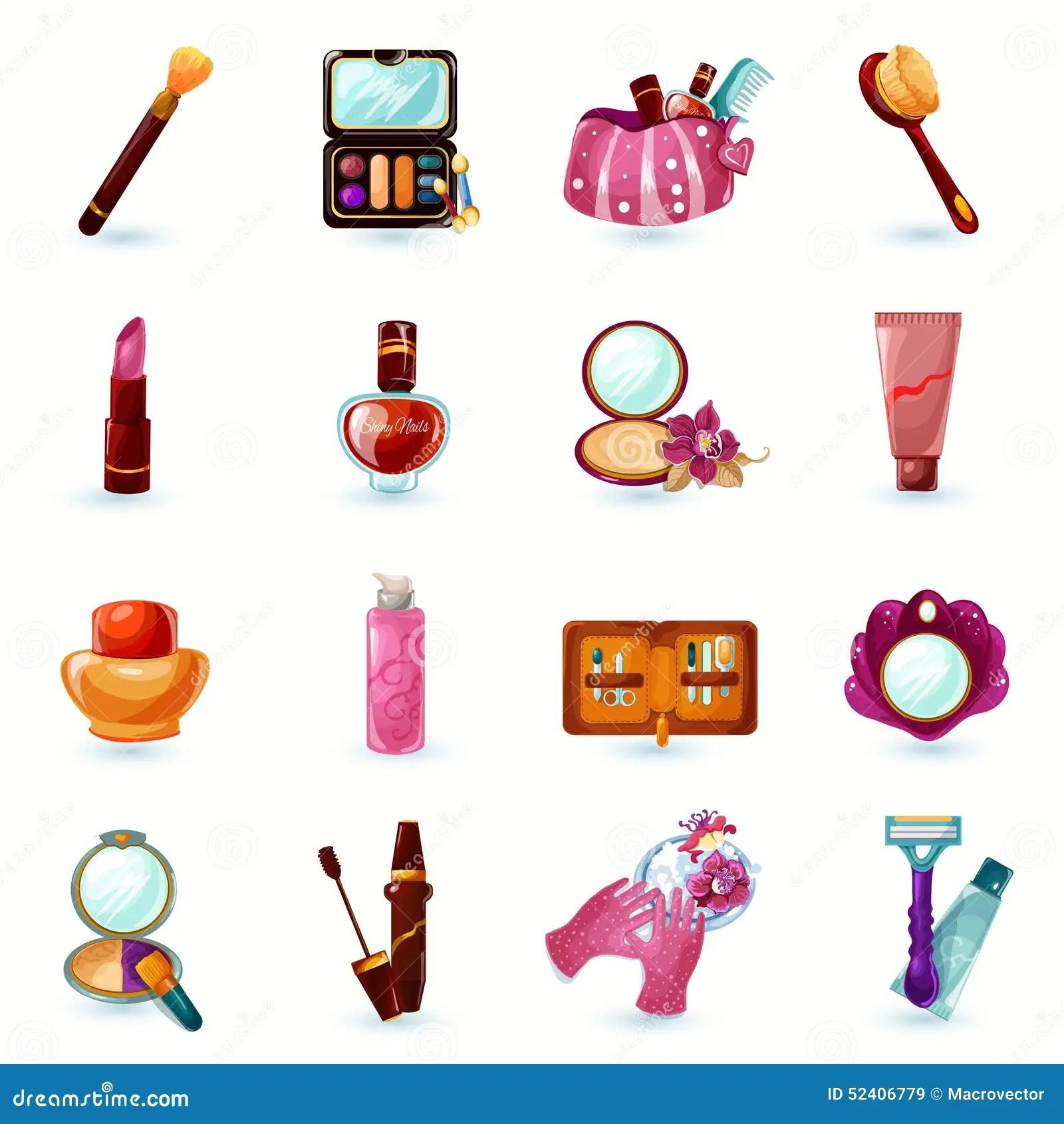 Cute Nail Arts Wallpaper Cosmetics Icons Set Stock Vector Image 52406779