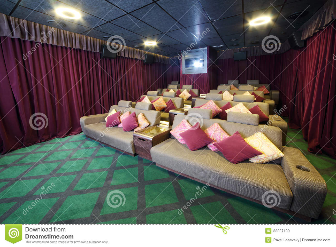 Theater Couches Couches With Cushions And Projector In Small Movie Theate