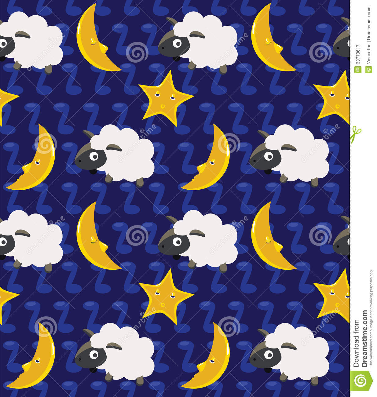 Cute Cartoon Face Wallpaper Count The Sheep And Moon Seamless Background Royalty Free