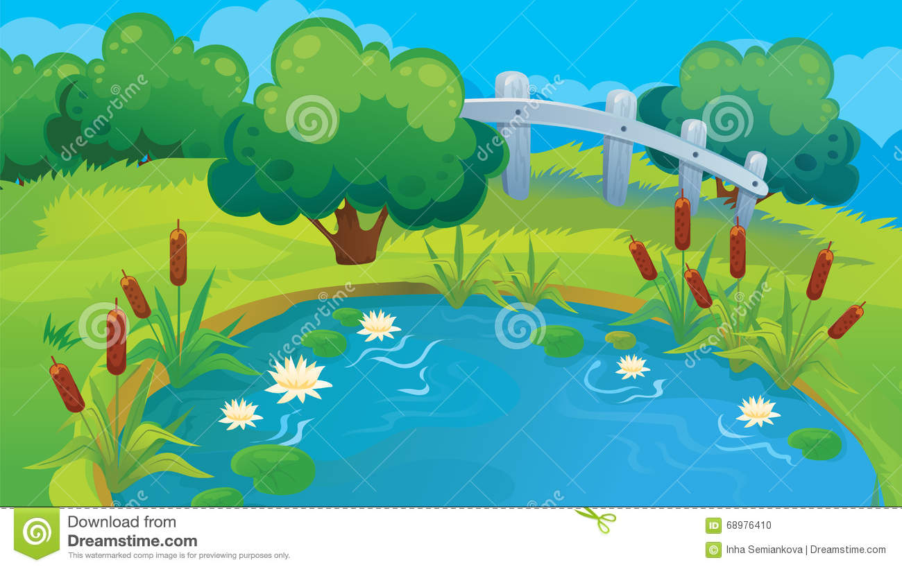 Cute Ducks In Water Wallpaper Country Background Of Pond Stock Vector Illustration Of