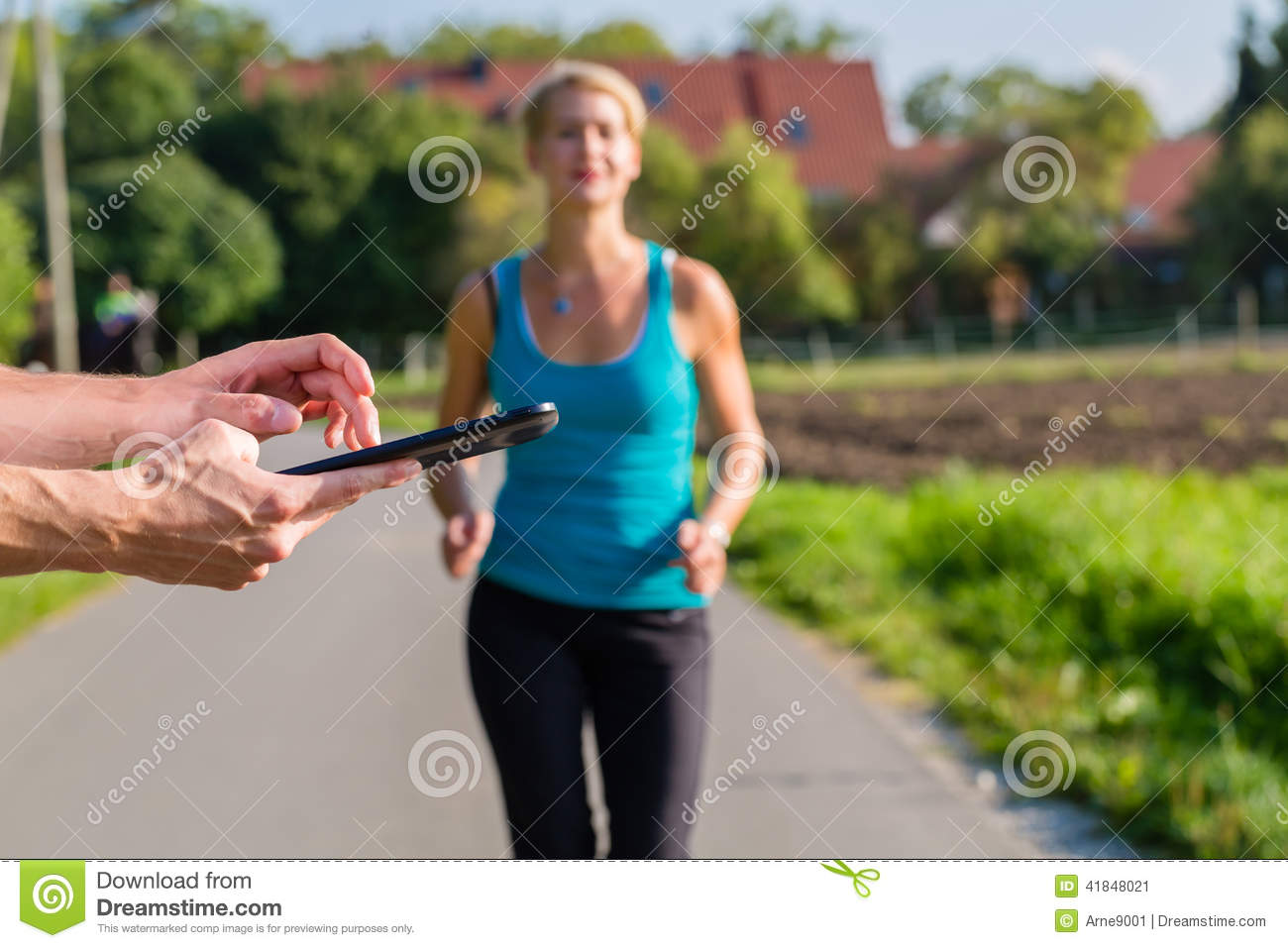 Jogging Run Time Couple Running Sport Jogging On Rural Street Stock Image