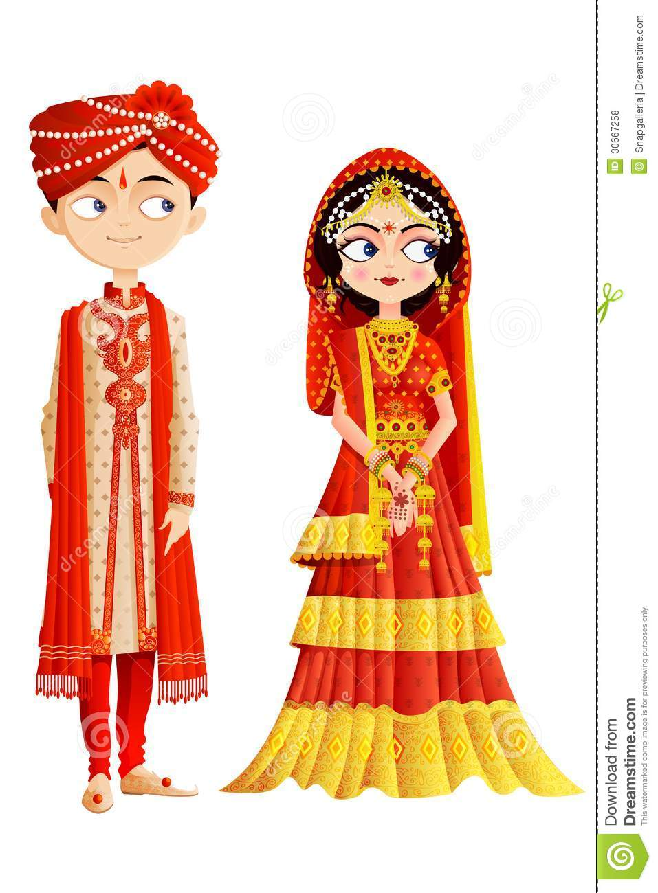 Cute Punjabi Married Couple Wallpaper Indian Wedding Cartoon
