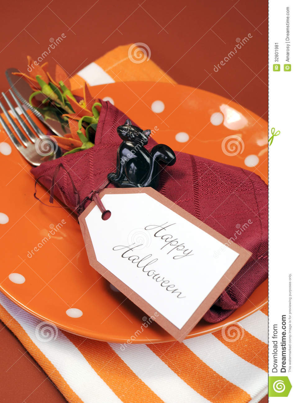 Serviette De Table Halloween Couvert Heureux De Table De Halloween Avec Le Plat Orange De
