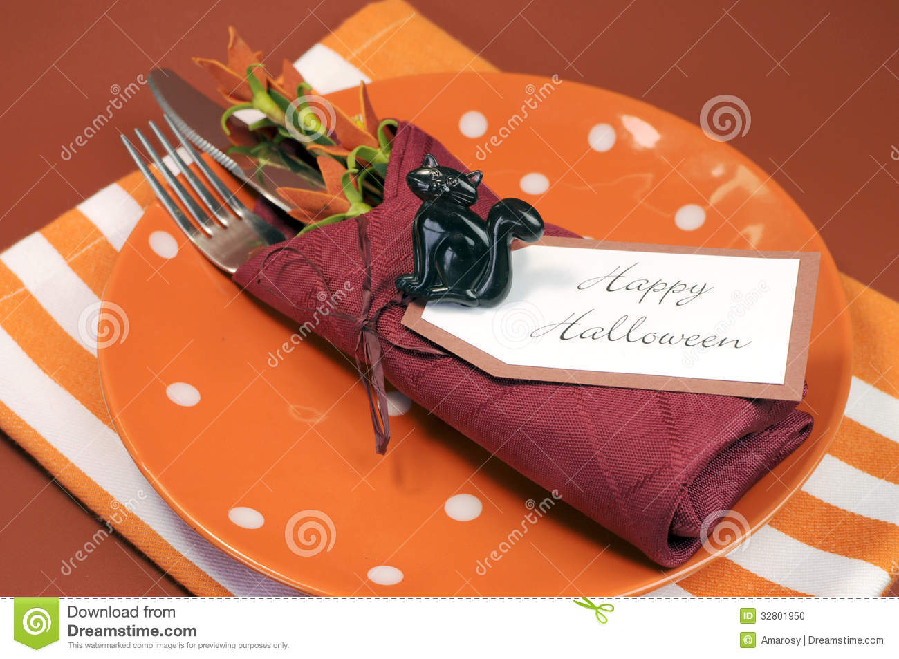 Serviette De Table Halloween Couvert Heureux De Table De Halloween Avec Le Point De Polka
