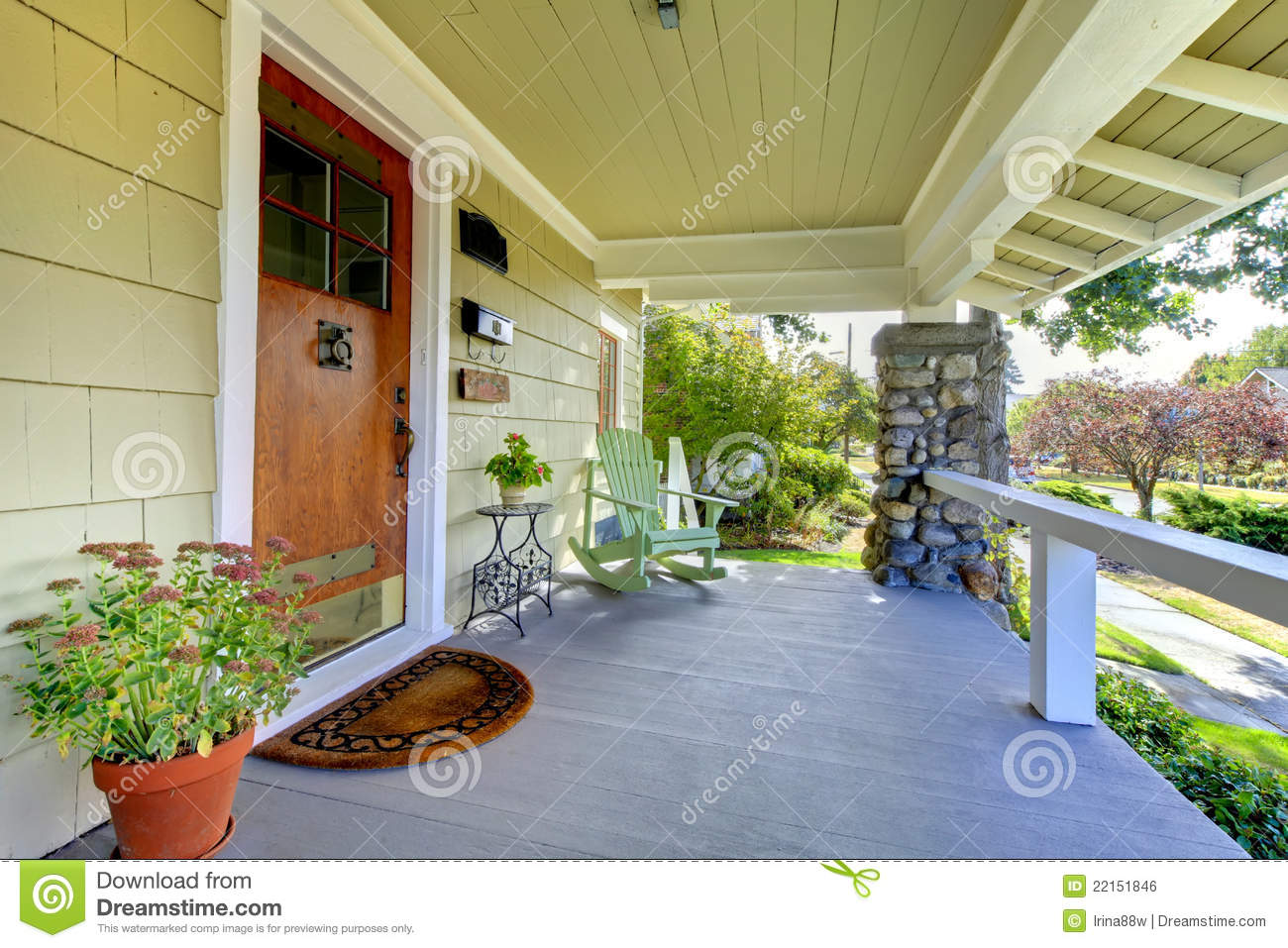Royalty free stock photo covered entrance front home porch style