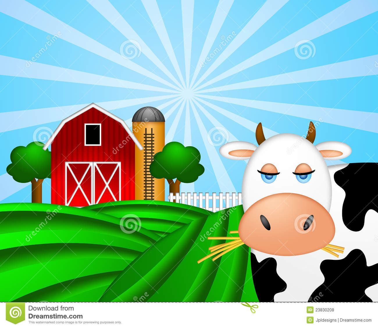 Cow on green pasture with red barn with grain silo royalty free stock photos