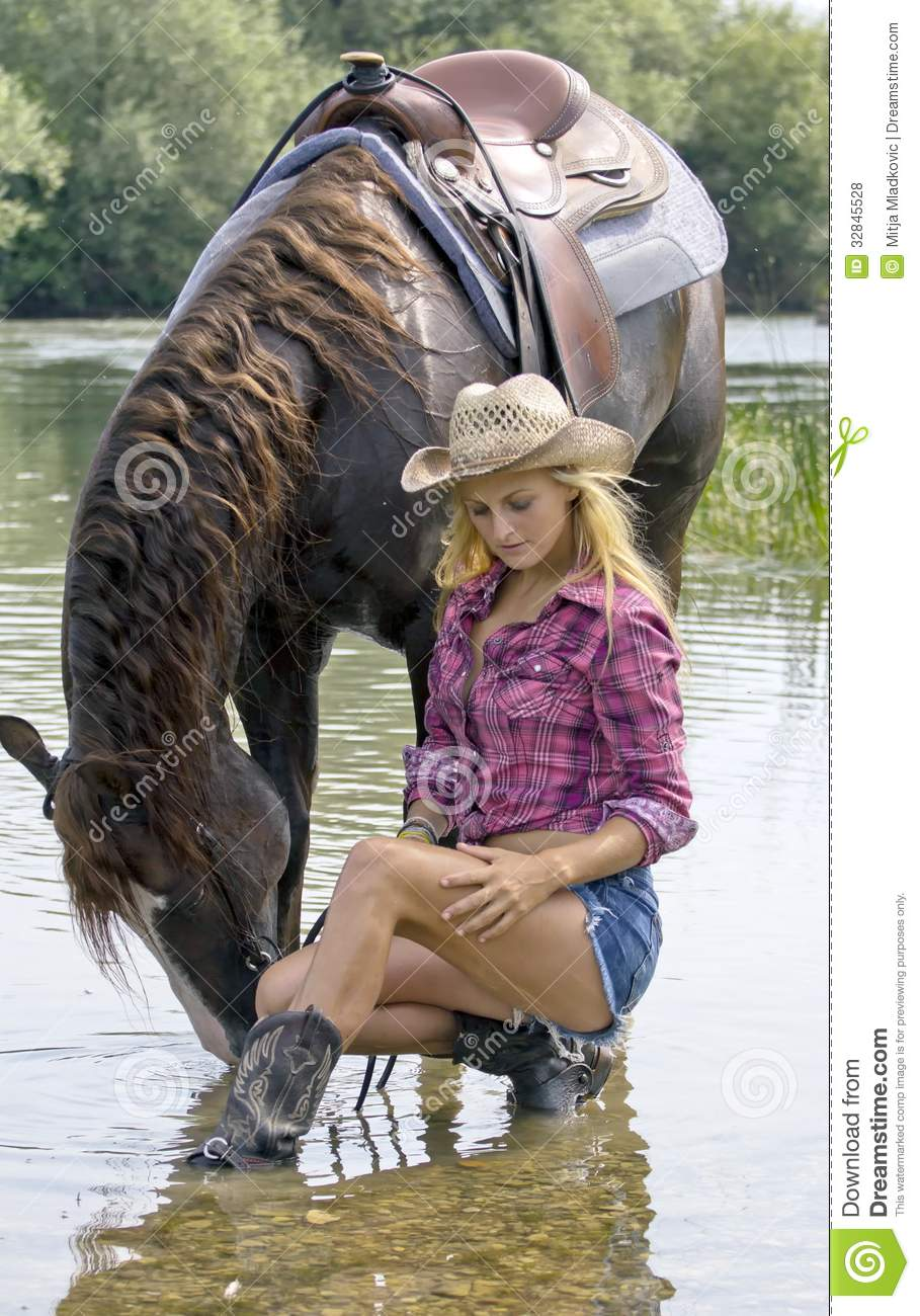 Wallpaper Country Girl Cowgirl With Horse Stock Photo Image Of Drink Mare