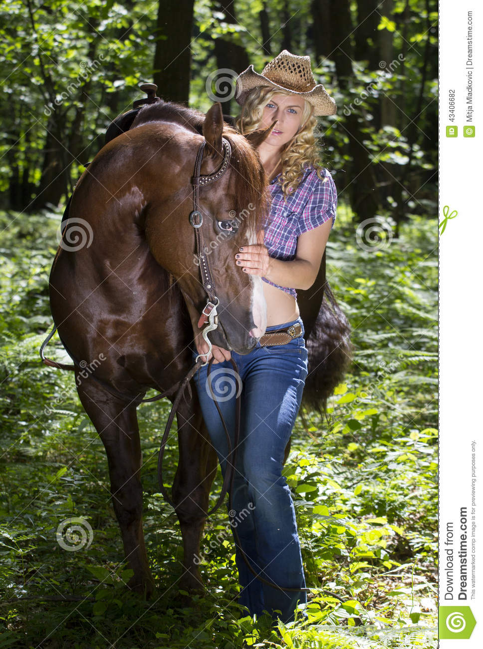Cow Wallpaper Cute Cowgirl With Horse In Forest Stock Photo Image 43406682