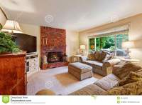Cozy Living Room With Brick Fireplace Stock Photo - Image ...
