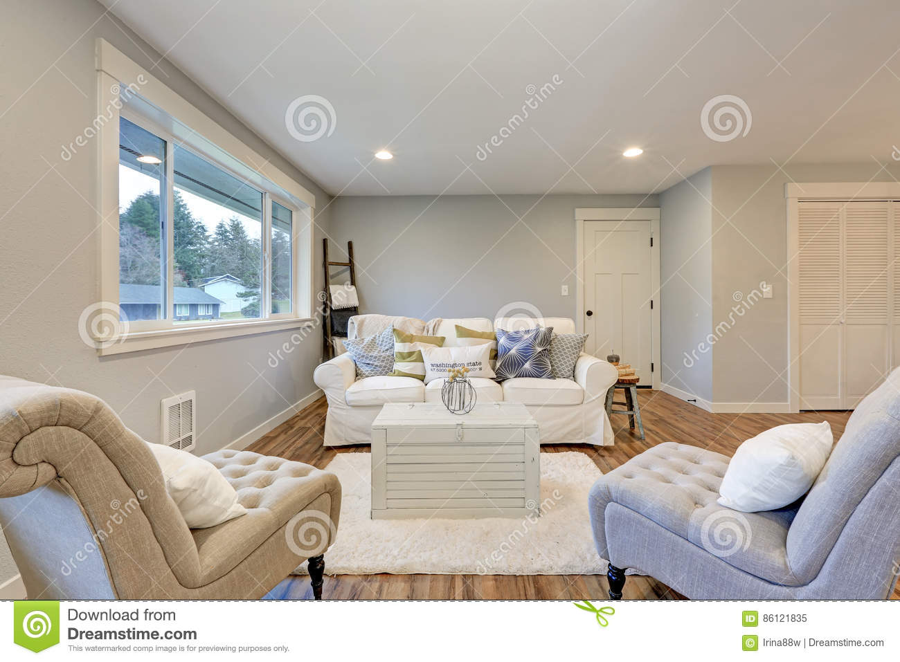 Grey White And Blue Living Room Cozy Living Room Space With Soft Blue Grey Walls Stock Image