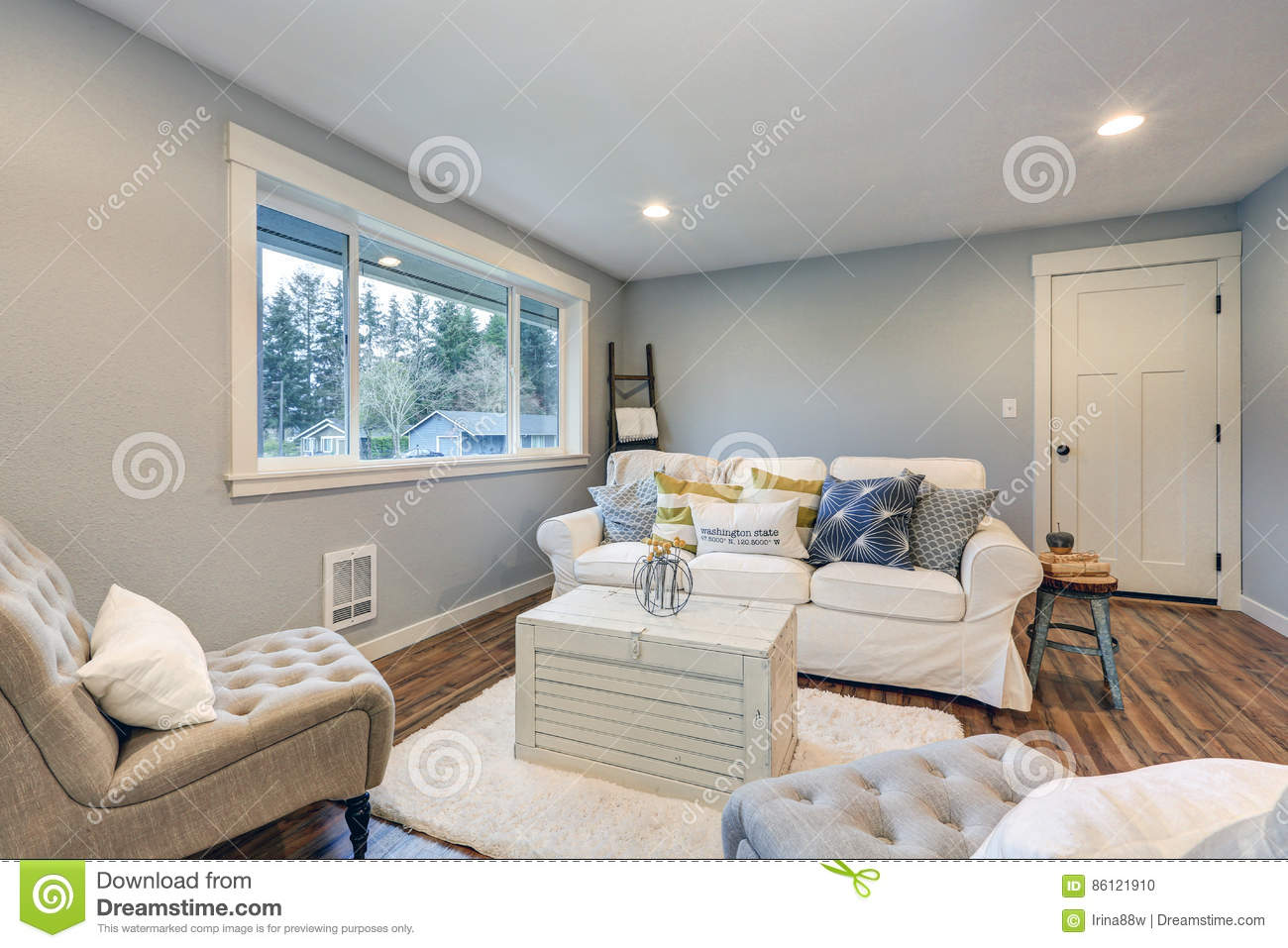 Grey White And Blue Living Room Cozy Living Room Space With Soft Blue Grey Walls Stock Photo