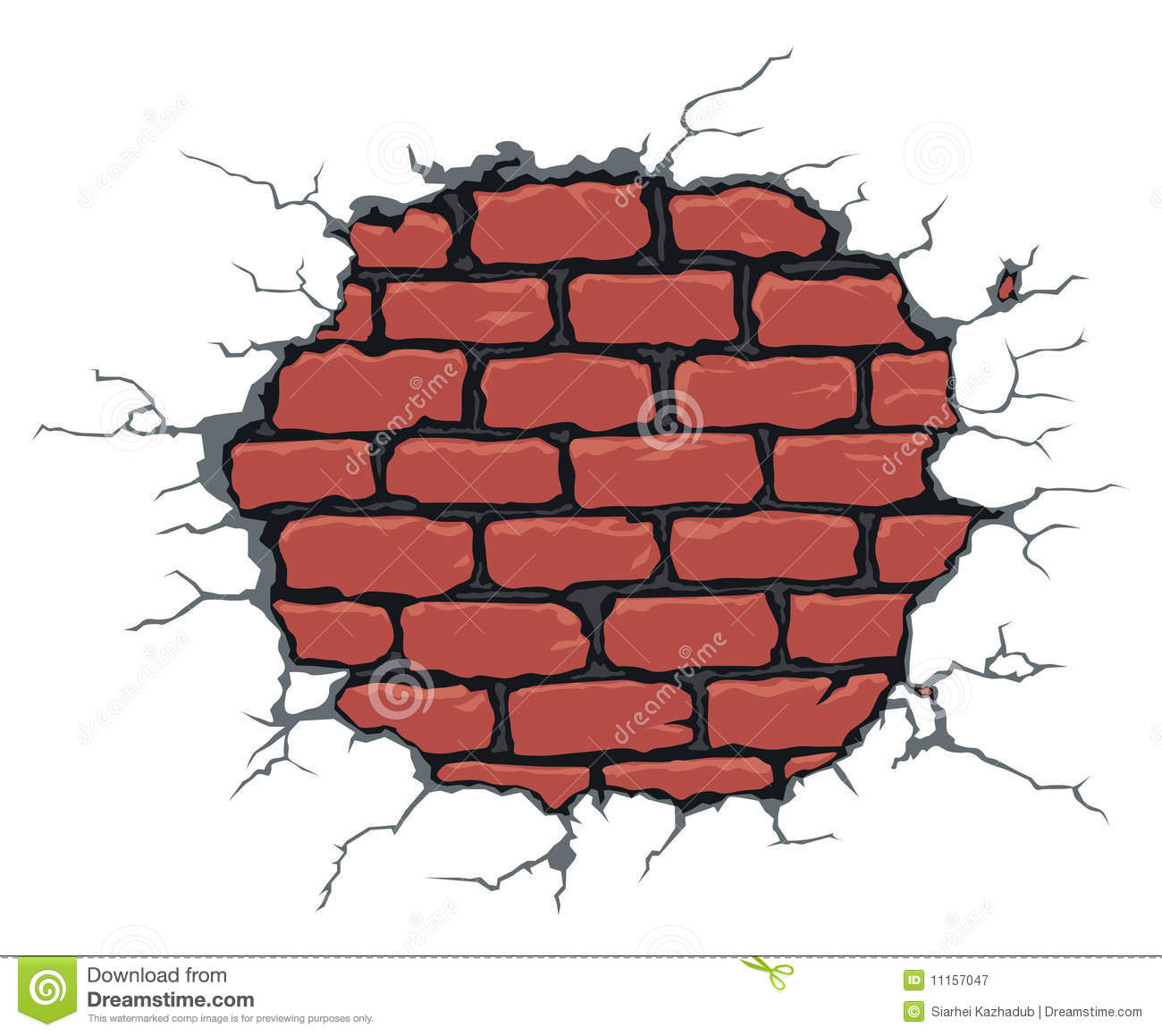 Free 3d Pile Of Bricks Wallpaper Cracked Brick Wall Stock Vector Illustration Of Crackled